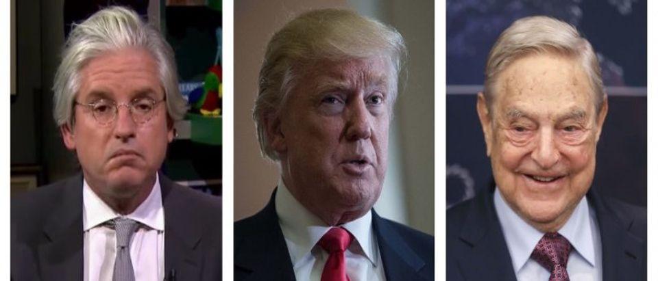 David Brock, Donald Trump, George Soros (YouTube, Getty Images)