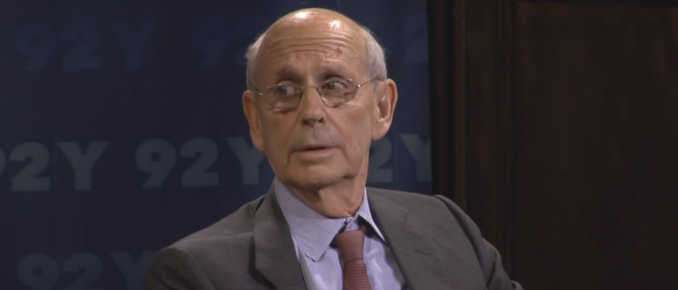 U.S. Supreme Court Justice Stephen Breyer speaks with Professor Noah Feldman. Credit: YouTube screen grab: https://www.youtube.com/watch?v=21PCbqehZdk