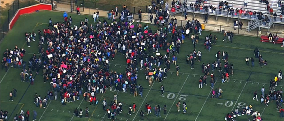 Students walk out of class to protest Trump. (WJLA/Screenshot)