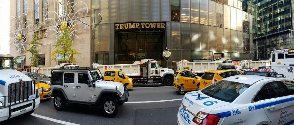 Police and dump trucks surround Trump Tower on Election Day. Credit: Chris Bedford, The Daily Caller News Foundation.