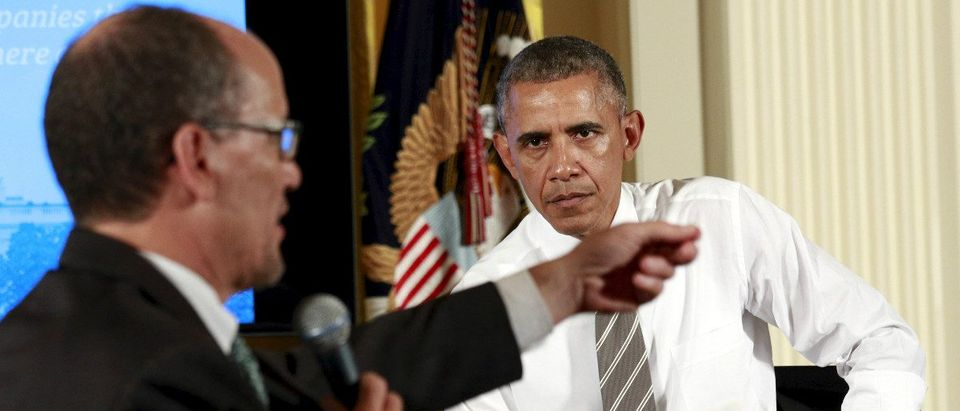 U.S. President Barack Obama & U.S. Labor Secretary Thomas Perez: REUTERS/Kevin Lamarque