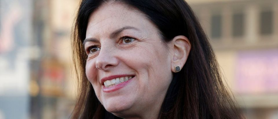 U.S. Senator Kelly Ayotte (R-NH) smiles as she campaigns in Littleton