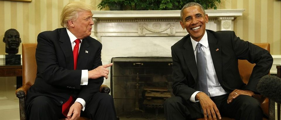 US President Obama meets with President-elect Trump in the White House Oval Office in Washington