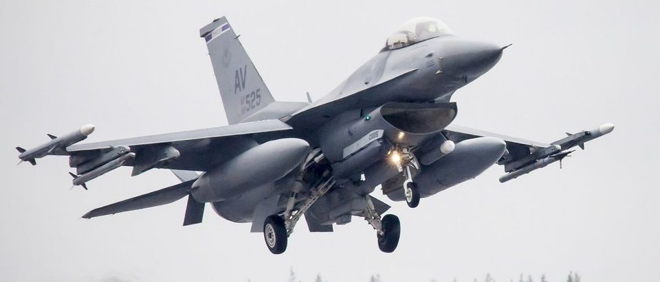 U.S. F-16CM fighter jet takes off from Kallax Airport during the Arctic Challenge Exercise (ACE 2015) outside Lulea, norhtern Sweden