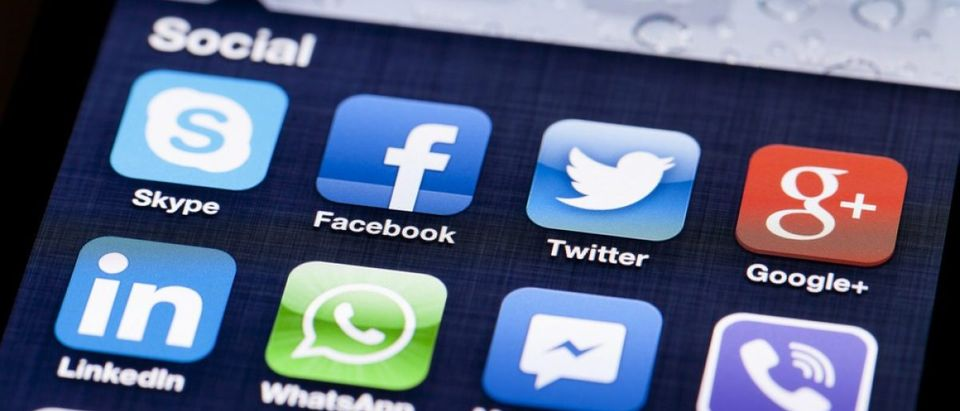 Facebook, Twitter and Google apps are all pictured on a smartphone screen. [Shutterstock - ymgerman]