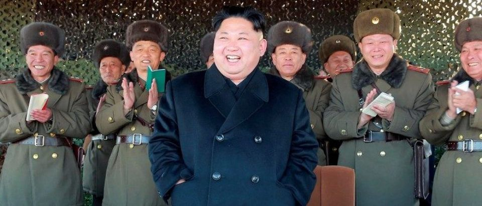 North Korean leader Kim Jong Un attends an intensive artillery drill of the KPA artillery units
