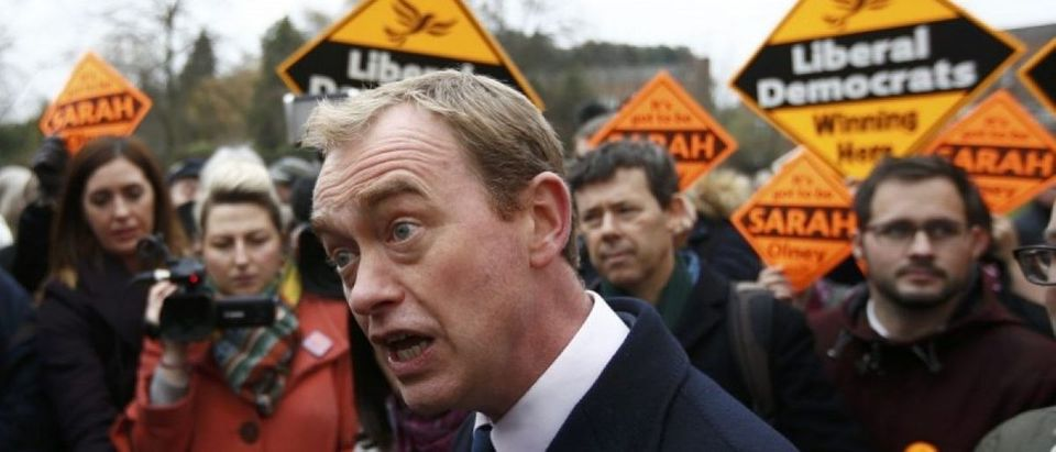 Liberal Democrats party leader Tim Farron speaks to the media after Sarah Olney's victory in the Richmond Park by-election, in London