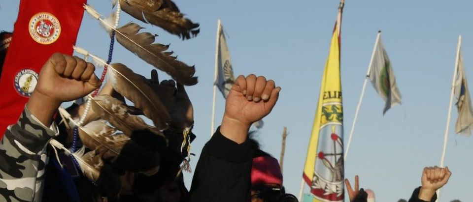 """Native American """"water protectors"""" celebrate that the Army Corps of Engineers has denied an easement for the $3.8 billion Dakota Access Pipeline inside of the Oceti Sakowin camp as demonstrations continue against plans to pass the Dakota Access pipeline"""
