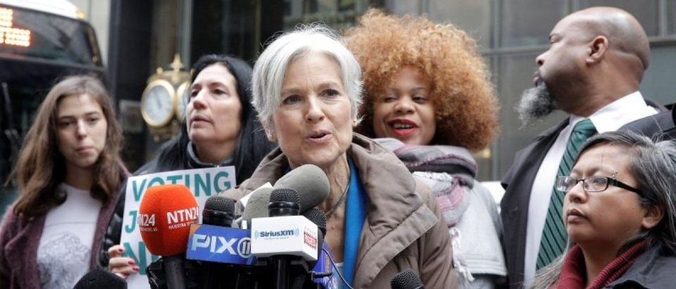 Green Party presidential nominee Jill Stein speaks during a news conference outside Trump Tower in Manhattan, New York