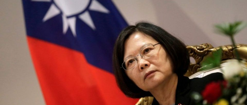 File photo of Taiwan's President Tsai Ing-wen speaking during an interview in Luque