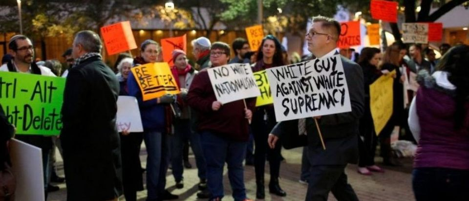 Protesters are seen as white nationalist leader Richard Spencer of the National Policy Institute is due to speak at an event not sanctioned by the school, at Texas A&M University in College Station,