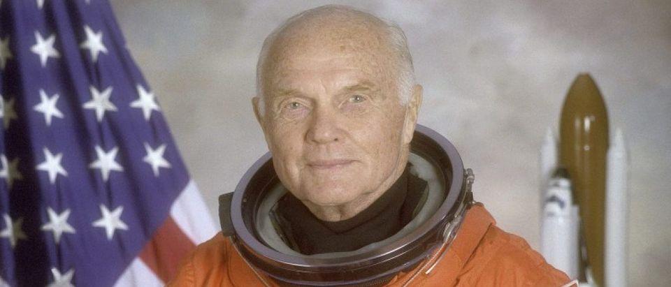 Astronaut and U.S. Senator John Glenn poses for his official NASA photo