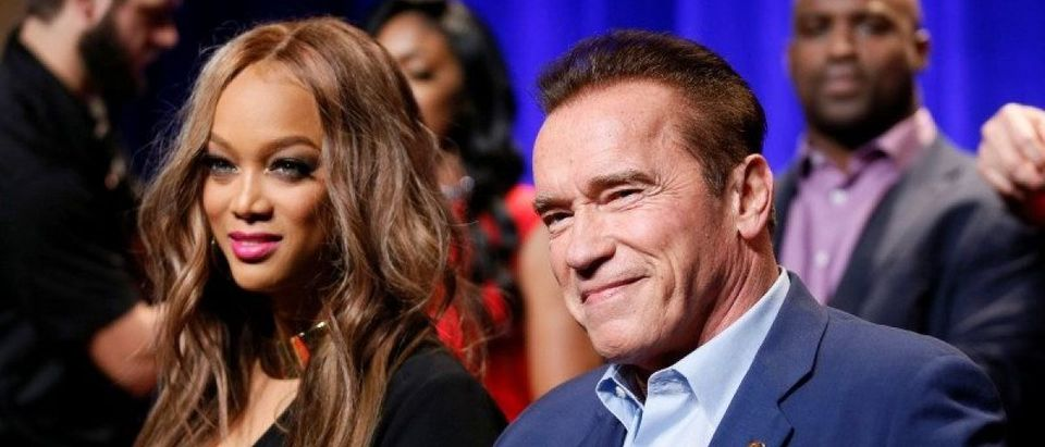 """Host Arnold Schwarzenegger and Tyra Banks participate in a panel for """"The New Celebrity Apprentice"""" in Universal City"""
