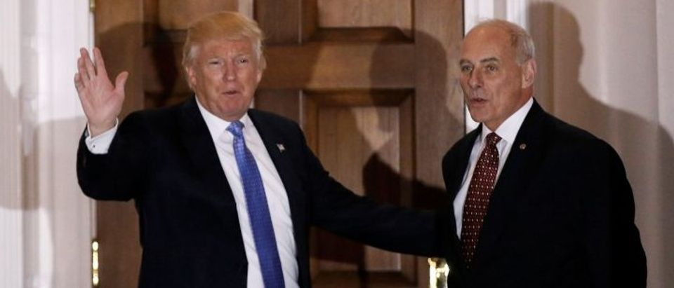 U.S. President-elect Donald Trump appears with retired Marine Corps General John Kelly outside the main clubhouse after their meeting at Trump National Golf Club in Bedminster