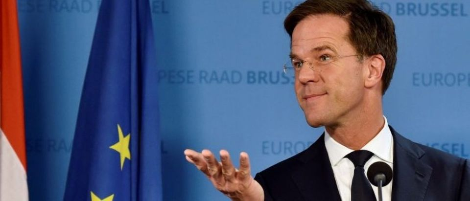 Netherlands' PM Rutte holds a news conference during an EU Summit in Brussels