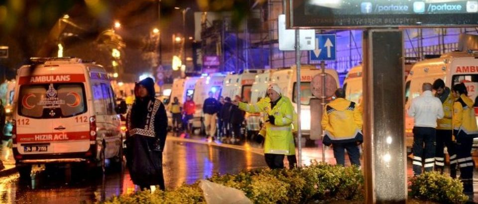 Ambulances line up on a road leading to a nightclub where a gun attack took place during a New Year party in Istanbul, Turkey, January 1, 2017. Ismail Coskun/Ihlas News Agency via REUTERS