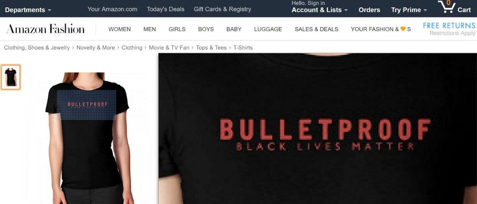 Black Lives Matter Shirt that says 'Bulletproof': Screenshot (Amazon.com)