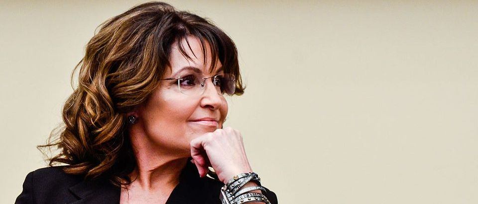 "Sarah Palin speaks during the ""Climate Hustle"" panel discussion at the Rayburn House Office Building on April 14, 2016 in (Getty Images)"