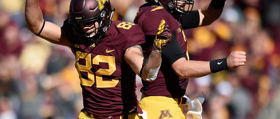 Drew Wolitarsky #82 of the Minnesota Golden Gophers congratulates teammate Mitch Leidner #7 on a touchdown against the Rutgers Scarlet Knights during the first quarter of the game on October 22, 2016 at TCF Bank Stadium in Minneapolis, Minnesota. (Photo by Hannah Foslien/Getty Images)