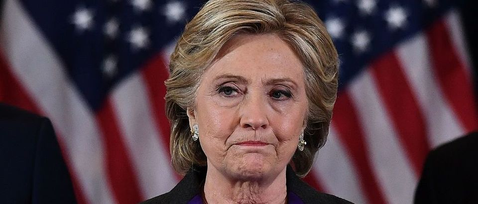 Democratic presidential candidate Hillary Clinton makes a concession speech after being defeated by Republican president-elect Donald Trump in New York on November 9, 2016. (JEWEL SAMAD/AFP/Getty Images)