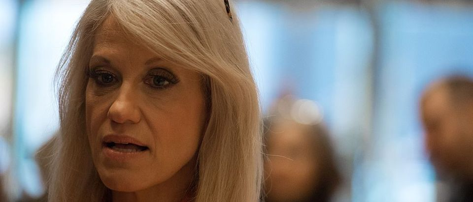 Kellyanne Conway speaks with the media in the lobby of Trump Tower on December 4, 2016 (Getty Images)