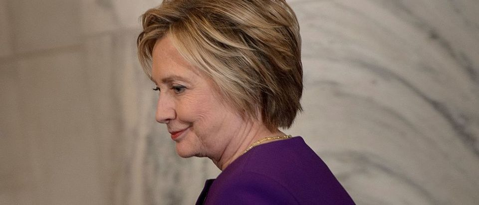 Former Democratic presidential candidate Hillary Clinton arrives for a portrait unveiling for outgoing Senate Minority Leader Senator Harry Reid (D-NV) on Capitol Hill December 8, 2016 in Washington, DC. (BRENDAN SMIALOWSKI/AFP/Getty Images)