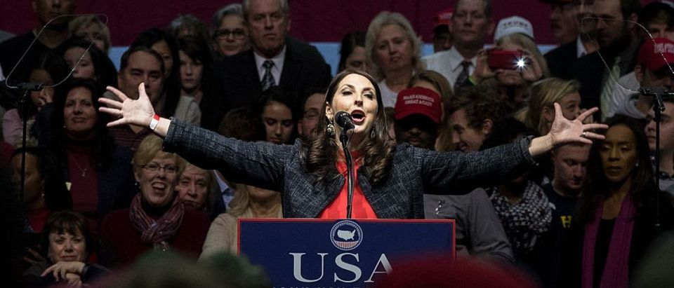 Michigan Republican Party Chair Ronna Romney McDaniel speaks before President-elect Donald Trump at the DeltaPlex Arena, December 9, 2016 in Grand Rapids, Michigan. President-elect Donald Trump is continuing his victory tour across the country. (Photo by Drew Angerer/Getty Images)