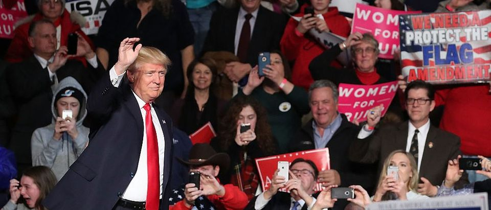 Donald Trump attends a victory rally in Hershey, PA (Getty Images)