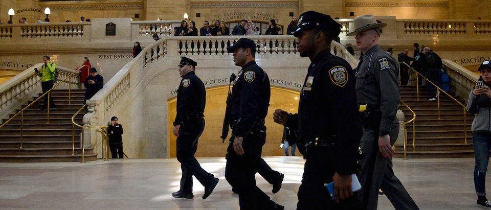 Members of the NYPD Joint Terrorism Task Force patrol Grand Central Station in the Manhattan borough in New York
