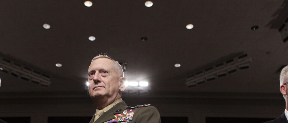 Gen. James Mattis arrives at the Senate Armed Services Committee hearing in Washington