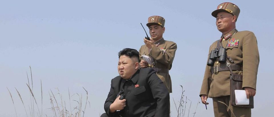 North Korean leader Kim Jong Un guides the multiple-rocket launching drill of women's sub-units under KPA Unit 851