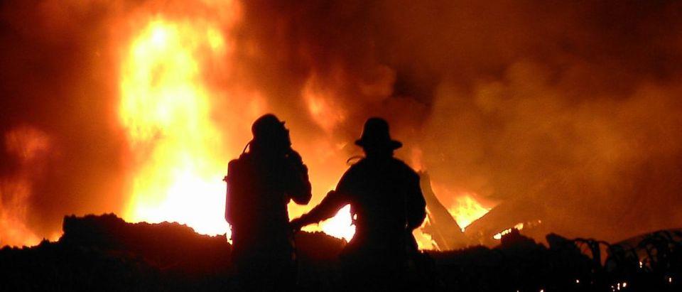 Firemen attack blaze: REUTERS/Dirk Diestel
