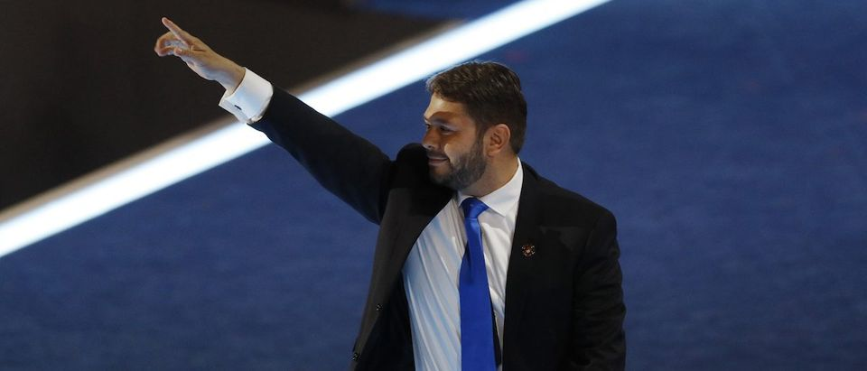 Representative Gallego waves after addressing the Democratic National Convention in Philadelphia