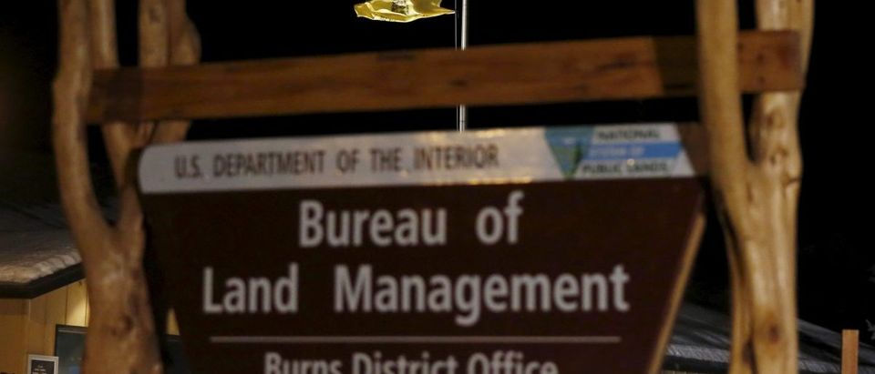 A Gadsden flag and a U.S. national flag fly over the Bureau of Land Management (BLM) Burns District Office outside Hines, Oregon January 31, 2016. The FBI negotiated with four armed occupants at the remote Malheur National Wildlife Refuge in Oregon on Saturday while the holdouts in a video posted online expressed their mistrust of the government and reluctance to leave. REUTERS/Jim Urquhart