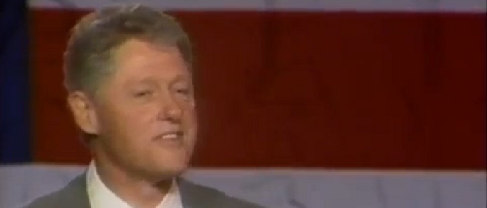 Bill Clinton talks to Democrats in Sacramento in 1995 (C-SPAN Video Screen Shot)