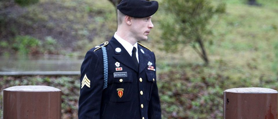 U.S. Army Sergeant Bergdahl leaves the courthouse after an arraignment hearing for his court-martial in Fort Bragg