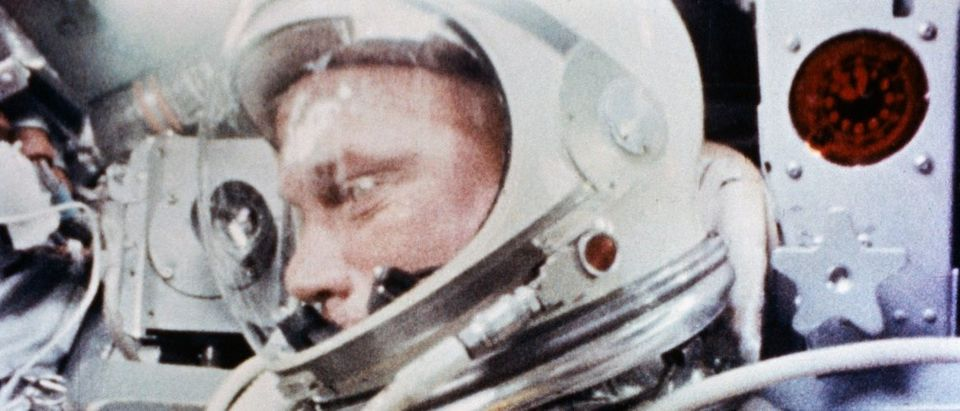 """Astronaut John H. Glenn, Jr., is pictured during the Mercury-Atlas 6 spaceflight becoming the first American to orbit Earth, February 20, 1962, in this handout photo taken by a camera onboard the spacecraft, provided by NASA. Launched from Cape Canaveral Launch Complex 14, Glenn's Mercury-Atlas 6 """"Friendship 7"""" spacecraft completed a successful three-orbit mission. The flight lasted a total of 4 hours, 55 minutes, and 23 seconds before the spacecraft splashed down in the ocean. REUTERS/NASA/Handout."""