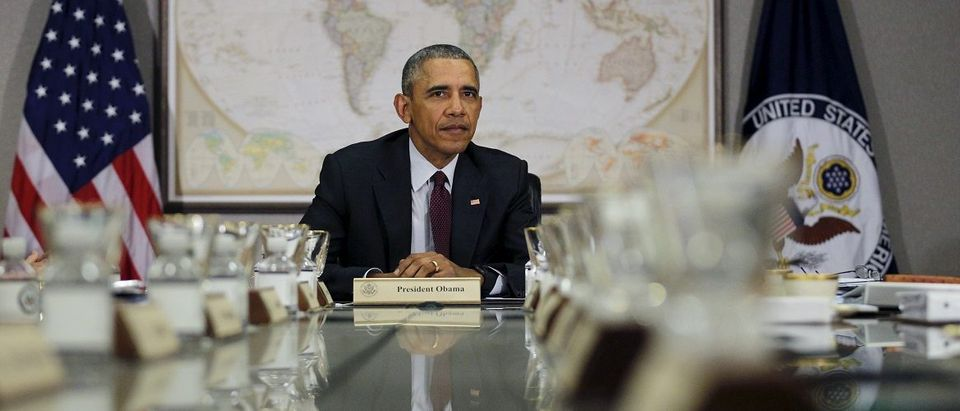 U.S. President Barack Obama attends a meeting with the National Security Council at the State Department Washington