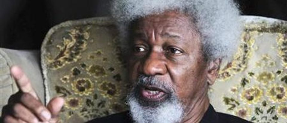 Author Wole Soyinka, who won the Nobel Prize for Literature in 1986, gestures during an interview in Lagos