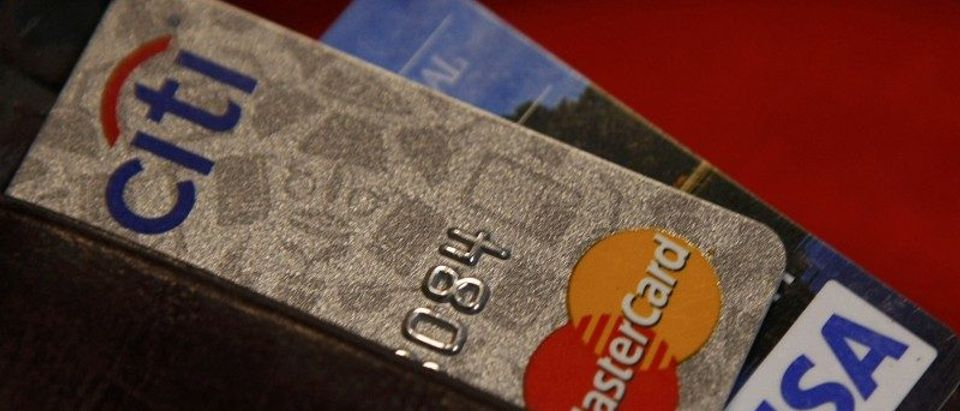 FILE PHOTO - Credit cards are pictured in a wallet in Washington