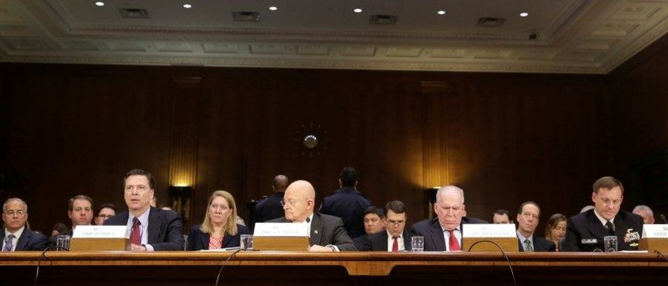 """FBI Director Comey, DNI Director Clapper, CIA Director Brennan and NSA Director Admiral Rogers testify before the Senate Select Committee on Intelligence hearing on """"Russia's intelligence activities"""" on Capitol Hill in Washington"""