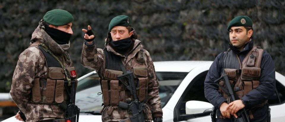 Members of the Turkish police special forces stand guard at the police headquarters in Istanbul