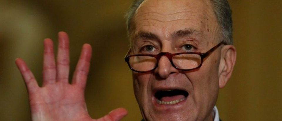 Schumer speaks with reporters after the weekly Senate Democratic caucus luncheon at the U.S. Capitol on Washington