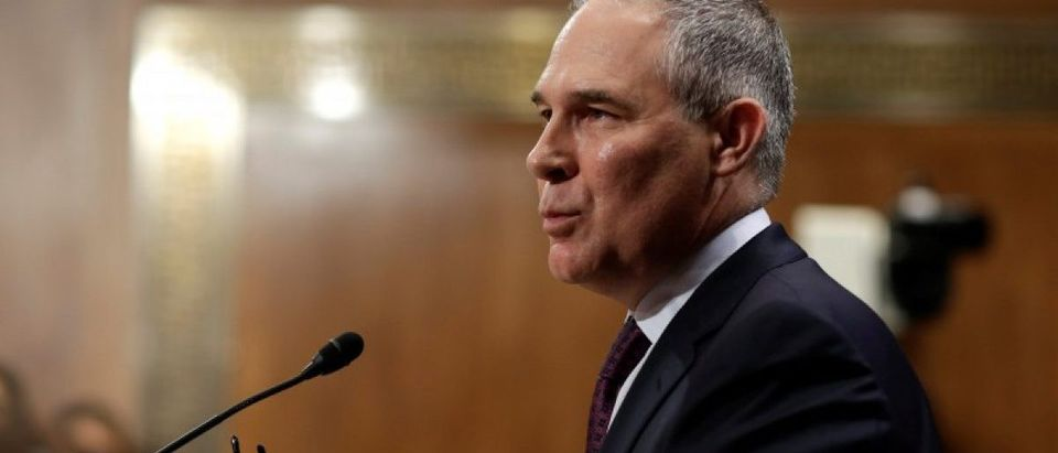 Oklahoma Attorney General Scott Pruitt testifies on his nomination to be administrator of the Environmental Protection Agency in Washington.