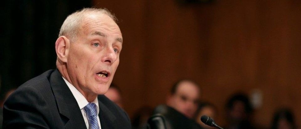 Retired General Kelly testifies before a Senate Homeland Security and Governmental Affairs Committee confirmation hearing on Kelly's nomination to be Secretary of the Department of Homeland Security on Capitol Hill in Washington.