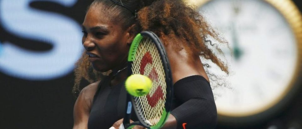 Tennis - Australian Open - Melbourne Park, Melbourne, Australia - 23/1/17 Serena Williams of the U.S. hits a shot during her Women's singles fourth round match against Czech Republic's Barbora Strycova. REUTERS/Thomas Peter