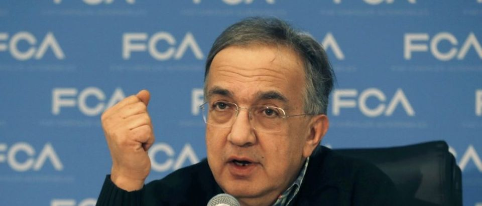 Fiat Chrysler Automobiles CEO Sergio Marchionne speaks during the North American International Auto Show in Detroit