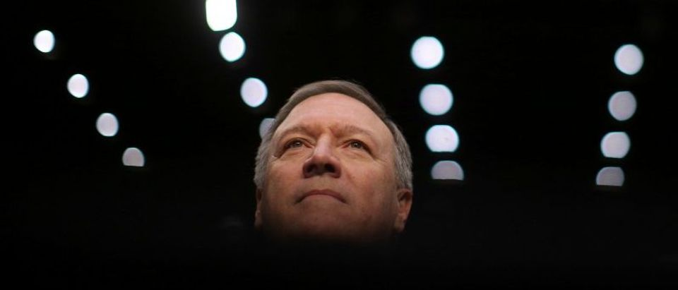 File photo of Representative Mike Pompeo arriving to testify before a Senate Intelligence hearing in Washington