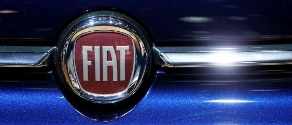 A Fiat car logo is pictured at the European Motor Show in Brussels