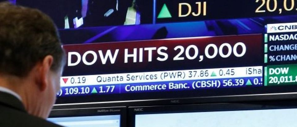 A screen shows the Dow Jones Industrial Average after it passes the 20,000 mark shortly after the opening of trading on the floor of the NYSE